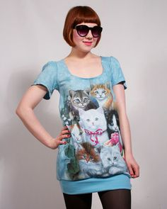 Blue Crazy Cat Lady Dress,