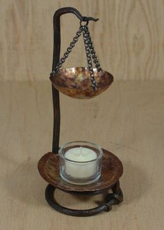 Hand Forged Tea Light Candle Stand w/ Removable Scent Warmer