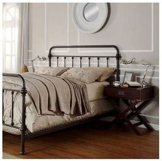 King Size Bed Antique Wrought Iron Victorian Metal Headboard Footboard Frame  -
