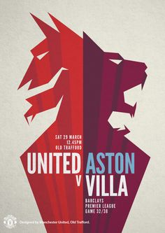 Match poster. Manchester United vs Aston Villa, 29 March 2014. Designed by @manutd.