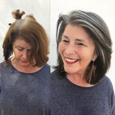 These 6 Holistic Hair Stylists are Helping Women Embrace Their Grey Hair Curly Hair Styles, Natural Hair Styles, Grey Hair Natural, Grey Hair Styles For Women, Grey Hair Transformation, Grey Hair Inspiration, Gray Hair Highlights, Chunky Highlights, Gray Hair Growing Out