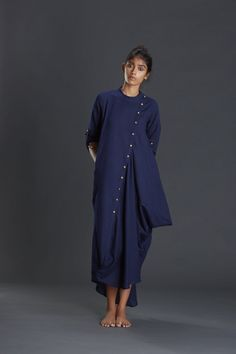 Items similar to New Collection/ Cowl Dress/ Navy Blue Maxi/ Asymmetrical /Oversized Gown/ Summer Dress/ Linen Dress on Etsy Blue Dresses For Women, Blue Summer Dresses, Clothes For Women, Casual Clothes, Linen Dresses, Cotton Dresses, Frock Fashion, Fashion Outfits, Women's Fashion
