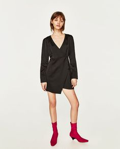 Image 1 of GLOSSY EFFECT CROSSOVER DRESS from Zara