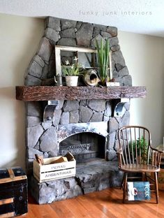 Spring fireplace mantel decorating ~ that never wilts   FunkyJunkInterior...