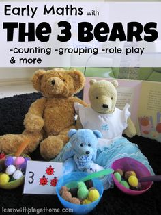 "Early Maths with The 3 Bears - Fun Counting & Grouping Activity. This activity will help children to model basic numbers and use counting & grouping strategies to demonstrate & verbalise relationships between basic numbers. In this case, the numbers ("",) Preschool Books, Toddler Activities, Preschool Activities, Activities For Kids, Preschool Names, Leadership Activities, Group Activities, Preschool Learning, Activity Ideas"