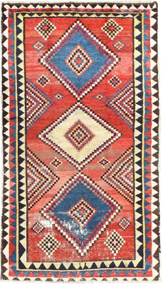 Vintage Tribal Shabby Chic Persian Gabbeh Rug 48966 Detail/Large View
