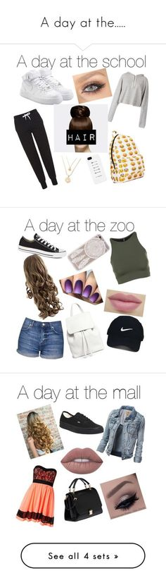 """A day at the....."" by mariposa68 ❤️ liked on Polyvore featuring Topshop, NIKE, Faith Connexion, Mansur Gavriel, Onzie, Converse, Nike Golf, Sisters Point, Vans and Lime Crime"