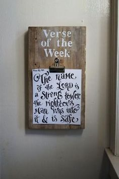 design ideas simple Verse of the Week Clip Board - Vintage Reclaimed Wood - Scripture Memory - Coloring page - homeschoo Youth Group Rooms, Youth Ministry Room, Youth Group Crafts, Youth Activities, Sunday School Rooms, Sunday School Classroom, Wood Crafts, Diy Crafts, Wood Board Crafts