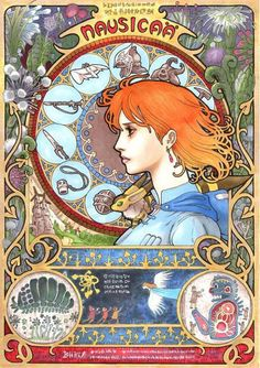 Takumi Kaneharas art nouveau Studio Ghibli series tarot cards - Nausicaa