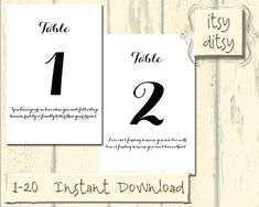 Printable Table Numbers - Love quote digital wedding table numbers 1 to 20 - Vintage style Black on white background - Instant Download on Etsy, $10.00
