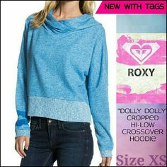 """For Sale! NWT Roxy """"Dolly Dolly""""  Hoodie - Cropped, Ultra SOFT, wide hem. Size XS. Retail $49.99 - Get it for MUCH LESS in my Poshmark Store!! :-)  #poshmark #roxy #hoodie #blue #xs #cozy #sweaterweather"""