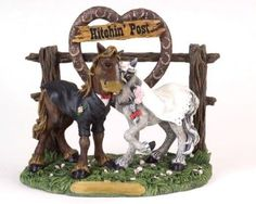 country western cake toppers | Bride and groom Elmer and Ellie 'Hitchin Post' Statue | WesternBrides