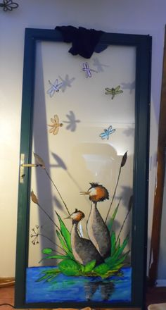 Window art, door painting. Glass painting, glass art. Decorative door painting.