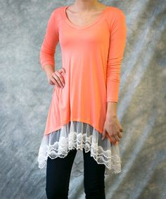 Look at this #zulilyfind! Peach Lillian Lace-Trim Tunic - Women & Plus by Sawyer Cove #zulilyfinds