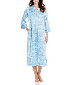 Miss Elaine Petite Printed Brushed Back Satin Long Zip Robe c6809b1c2