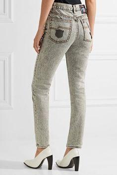 Marc Jacobs - Embellished Appliquéd High-rise Skinny Jeans - Light gray -