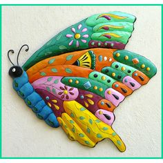 Metal Wall Art Butterfly Design - Hand Painted Butterfly Wall Hanging ❤ liked on Polyvore featuring home, home decor, wall art, tropical wall art, metal butterfly wall hanging, butterfly wall art, butterfly wall hanging and sea turtle wall art