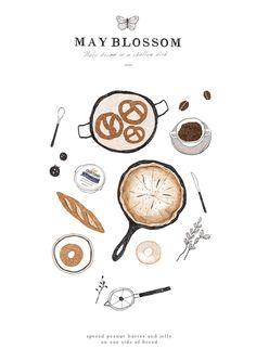 레시피 일러스트, 빵일러스트, 예쁜빵집, 빵집일러스트 , 커피일러스트 : 네이버 블로그 Dessert Illustration, Cute Illustration, Pinterest Instagram, Food Sketch, Buch Design, Food Drawing, Learn To Paint, Illustrations And Posters, Stickers