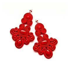 Red bead chandelier earrings soutache embroidery. Red by MANJApl