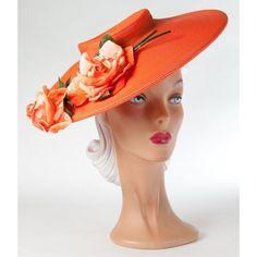 1940s Large Wide-Brimmed Orange Hat with Orange Rose Decoration.