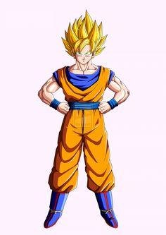 Son Goku Character   Render Sangoku Super Saiyen