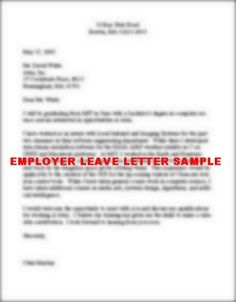 Sample of Employer Leave Letter