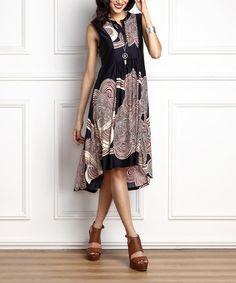 Love this Navy & Burgundy Cloud Hi-Low Sleeveless Dress on #zulily! #zulilyfinds