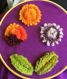 Free photo tutorial on working Amish stump work embroidery. Also known as German tufted embroidery, plush work, and chenille work, among others. Hand Embroidery Art, Couture Embroidery, Ribbon Embroidery, Embroidery Stitches, Embroidery Designs, Amish Crafts, Easy Crafts, Bordados E Cia, Crazy Quilt Stitches