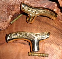 2 Cast Brass Fritz Cane Walking Stick Handles with Threaded Rod Connectors for Your Shaft