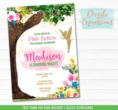 Printable Watercolor Tinkerbell Inspired Fairy Birthday Invitation - Pixie Hollow Tree - Fairy Garden Party - Watercolor Floral - FREE thank you card – Dazzle Expressions Bounce House Birthday, Fairy Birthday Party, Printable Thank You Cards, Free Thank You Cards, Chalkboard Invitation, Birthday Chalkboard, Karate Birthday, Pixie Hollow, Printable Birthday Invitations