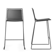 Alo Bar stool - Seat : H 65 cm - Leatherette upholstery Grey structure - Anthracite grey shell by Ondarreta