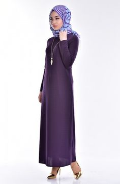 Kolye Detaylı Elbise 3249-04 Mor