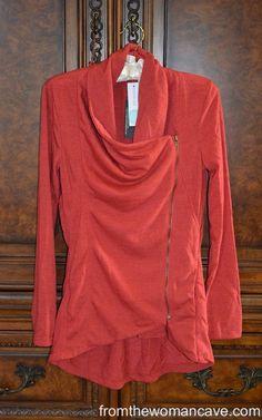 Love the asymmetrical zip. Light weight jacket.