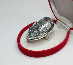Nostalgischer Silberring mit Blumenmuster MR109 von Schmuckbaron