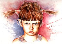 Angry Child, watercolor painting by; Ole M. Hedeager, www.unikart.dk