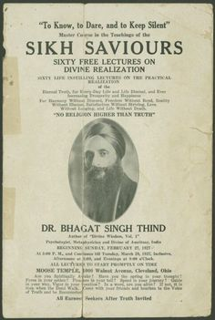 Pamphlet: Sikh Saviors, a series of lectures by Dr. Bhagat Singh Thind in Cleveland Ohio.