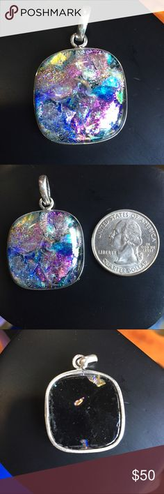 NWOT Dichroic glass sterling silver square pendant Uniquely-colored dichroic glass square pendant set in sterling silver. Gorgeous pastels make this an awesomely eye-catching piece. I've never worn this one so it's in perfect condition! I'm open to reasonable offers and give bundle discounts!😊☮💜✌️ Jewelry