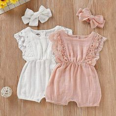 Summer Baby Girl Rompers Newborn Baby Clothes Toddler Flare Sleeve Solid Lace Design Romper Jumpsuit with Headband One-Pieces - Baby Girl Romper - Ideas of Baby Girl Romper Baby Clothes Patterns, Cute Baby Clothes, Clothing Patterns, Baby Girl Clothing, Cute Baby Dresses, Designer Baby Girl Clothes, Kids Clothing, Baby Summer Dresses, Baby Girl Patterns