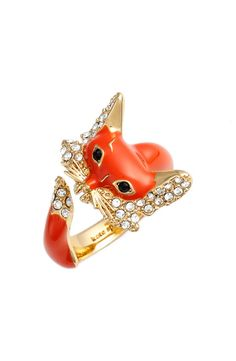 kate spade new york kate spade new york 'into the woods - fox' wrap ring available at Fox Jewelry, Animal Jewelry, Kate Spade Rings, Closet Accessories, Owl, Fox Design, Diamond Are A Girls Best Friend, Valentine Day Gifts, Bling