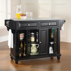 Crosley Furniture Cambridge Solid Granite Top Kitchen Island in Black Finish - KF30003DBK - Lowest price online on all Crosley Furniture Cambridge Solid Granite Top Kitchen Island in Black Finish - KF30003DBK