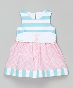 Look at this #zulilyfind! Pink & Aqua Stripe Initial Dress - Infant & Toddler by Caught Ya Lookin' #zulilyfinds