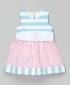 Caught Ya Lookin' Pink & Aqua Stripe Initial Dress