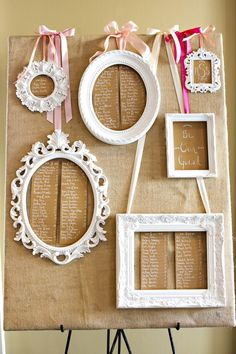 Painted frames highlight the tables in this rustic styled wedding seating plan - easy and cheap to DIY with charity shop and car boot sale finds. Seating Plan Wedding, Wedding Table, Diy Wedding, Rustic Wedding, Wedding Day, Seating Plans, Reception Seating, Card Wedding, Wedding Pics