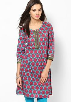 3/4Th Sleeve Aqua Blue Printed Kurti
