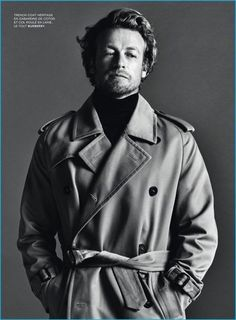 Barbara Loison outfits Simon Baker in a trench coat and turtleneck from Burberry.