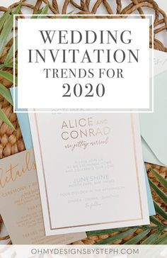 Wedding Invitation Trends for 2020 include modern design, white ink printing, thick cotton cardstock, rose gold foil, and more! Check out the full post now and order a sample to start your wedding invitation planning!