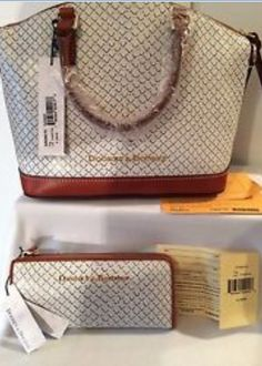 5fe139279c39 Dooney and Bourke Toni satchel and wallet in Fog color