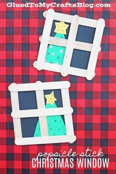 Popsicle Stick Christmas Tree In Window - Kid Craft Idea