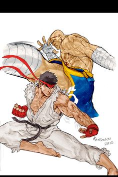 RYU X SAGAT Rough Release by *Kandoken on deviantART