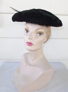 1950s Vintage Black Velvet Saucer Hat with by MyVintageHatShop